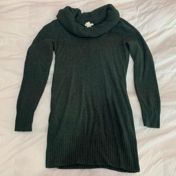 ⭐️ Green Cowl Neck Sweater Dress Long Sleeve